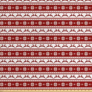 Ambesonne Christmas Fabric by The Yard, Norwegian Scandinavian Traditional Vintage Style Borders Reindeer Striped Flower, Decorative Fabric for Upholstery and Home Accents, 1 Yard, White Red