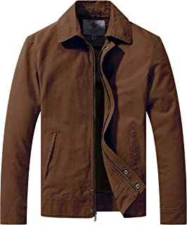 WenVen Men's Spring Big and Tall Lightweight Work Wear Full Zip Jacket with Pockets