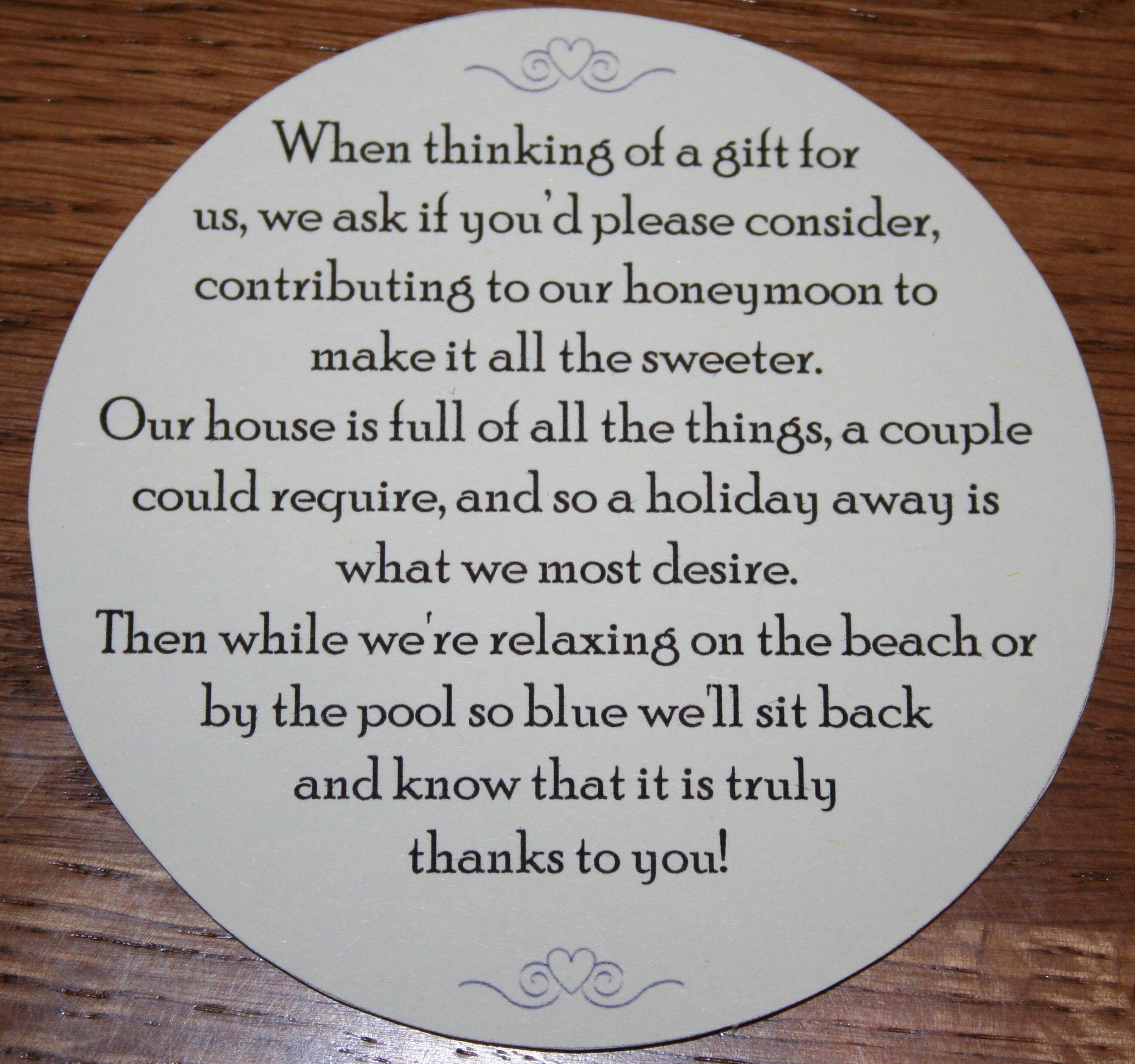 Wedding Money Request Poems for your Honeymoon - ROUND (50) & Wedding Money Poem: Amazon.co.uk