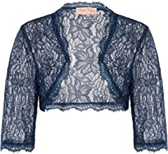 Womens 1950s Vintage Lace Shrug 3/4 Sleeve Cropped Bolero Jacket for Evening Dress