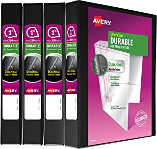 "Avery Durable View 3 Ring Binders, 1"" Slant Ring, 4 Black Binders, Create A Set Of.."