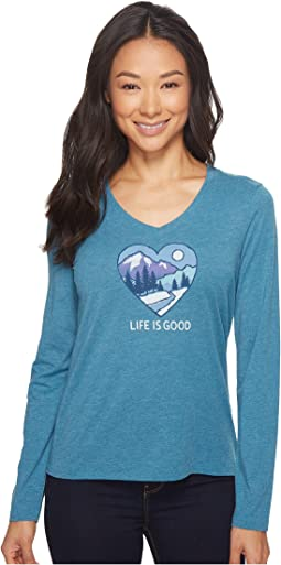 Life is Good - Winter Heart Scene Long Sleeve Cool Vee