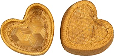 WD- Thai Kra-tip Sticky Rice Heart shape Bamboo Basket Handmade Steamers Cookware-4 inch for Home,restaurant or Cookware -collecting things.
