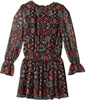 Deb Floral Printed Chiffon Dress with Bell Sleeves (Big Kids)