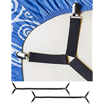 FeelAtHome Bed Sheet Holder Straps Criss-Cross - Pack of 2 Bedsheet Straps Suspenders - Grippers Fasteners Hold Bedsheets in Place - Adjustable Elastic Clips Garters - Fitted Flat Mattress Corners