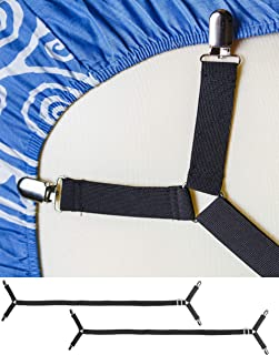 FeelAtHome Bed Sheet Holder Straps Criss-Cross - Pack of 2 Sheet Straps Suspenders - Sheet Grippers Fasteners - Fits from Twin to Queen to California King - Adjustable Elastic Sheet Clips