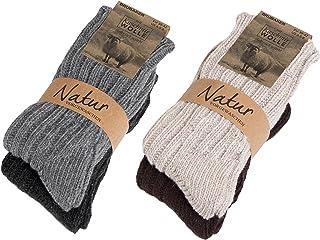 94c502bfb2662 Brubaker Chaussettes tricotées en Cachemire - Lot de 4 Paires - 48% Laine  de mouton