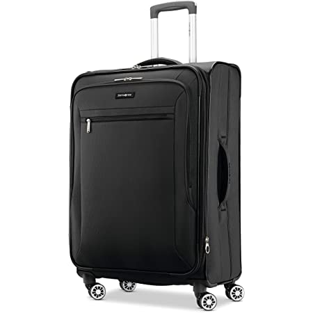 Samsonite Ascella X Softside Expandable Luggage with Spinner Wheels, Black, Checked-Medium 25-Inch