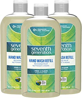 Seventh Generation Liquid Hand Wash Soap Refill Free & Clear Unscented 24 oz, Pack of 3