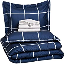 AmazonBasics 7-Piece Microfiber Bedding Set for Queen Bed (Includes 1 bedsheet, 1 Comforter, 4 Pillowcases, 1 Fitted Sheet) - Navy Simple Plaid