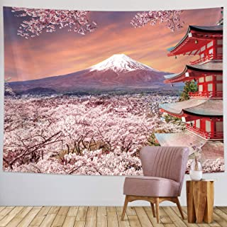 Sumind Japanese Wall Hanging Tapestry Asian Fuji Mountain Tapestry Japan Pagoda Wall Decoration with Cherry Blossom Art Na...