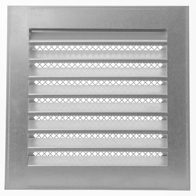 Rejilla de ventilación industrial galvanizada de 200 x 200 mm, con protección contra insectos, aplicaciones de calefacción, refrigeración y ventilación, cubierta de ventilación interior y exterior.