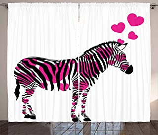 Ambesonne Pink Zebra Curtains, Zebra in Love with Hearts Pastel Valentines Wedding Anniversary, Living Room Bedroom Window Drapes 2 Panel Set, 108