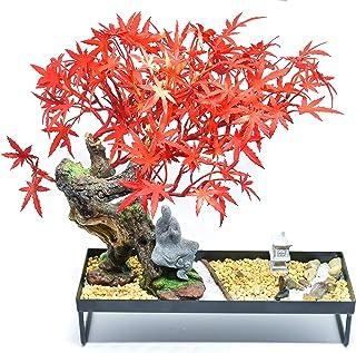 GET CHAKRAED Japanese Zen Garden with Red Maple Bonsai Tree Set with Sand, Beach Pebbles, Fine Quartz, Sand Rock, Bamboo R...
