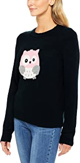 French Connection Women's Embroidered Owl Knit, Multicolored (