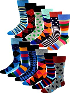 12 Pairs Pack Men's Premium Combed Cotton Fashion Funky Design Dress Socks 10-13
