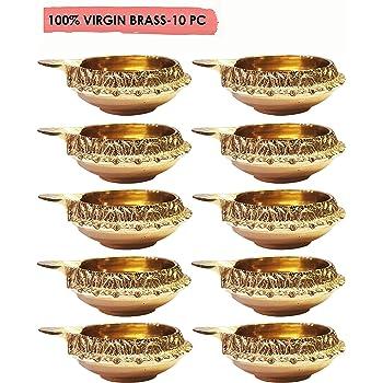 Hashcart Set of 20 Handmade Indian Puja Brass Oil Lamp - Golden Diya Lamp Engraved Design Dia with Turtle Base HC-BR-KDT90/_20