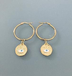 Creoli dorati olio inossidabile occhio greco, gioielli da donna, creoli d'oro, gioielli occhio male, gioielli regalo, rega...