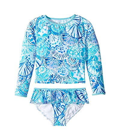 Lilly Pulitzer Kids UPF 50+ Cora Rashguard Swim (Toddler/Little Kids/Big Kids) (Turquoise Oasis Half Shell) Girl
