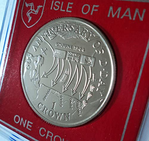 D-Day WWII The Normandy Landings 60th Anniversary 2004 Isle of Man Commemorative Crown Coin (BU) Collector Gift Set in Display Case