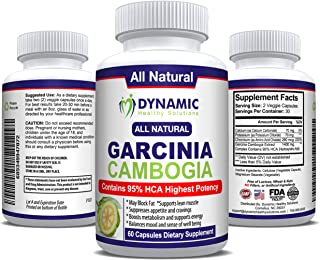 #1 Garcinia Cambogia Extract - 1400 mg (only 2 capsules/day) - 95 HCA - Pure 100% Natural Effective Appetite Suppressant and Weight Loss Supplement - 60 Vegetarian Capsules