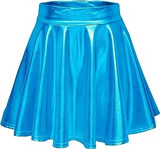 Urban CoCo Women's Shiny Flared Pleated Mini Skater Skirt