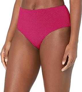 Seafolly Women's Standard Mid Rise Full Coverage Bikini Bottom Swimsuit, Sea Dive Fuchsia Rose, 8
