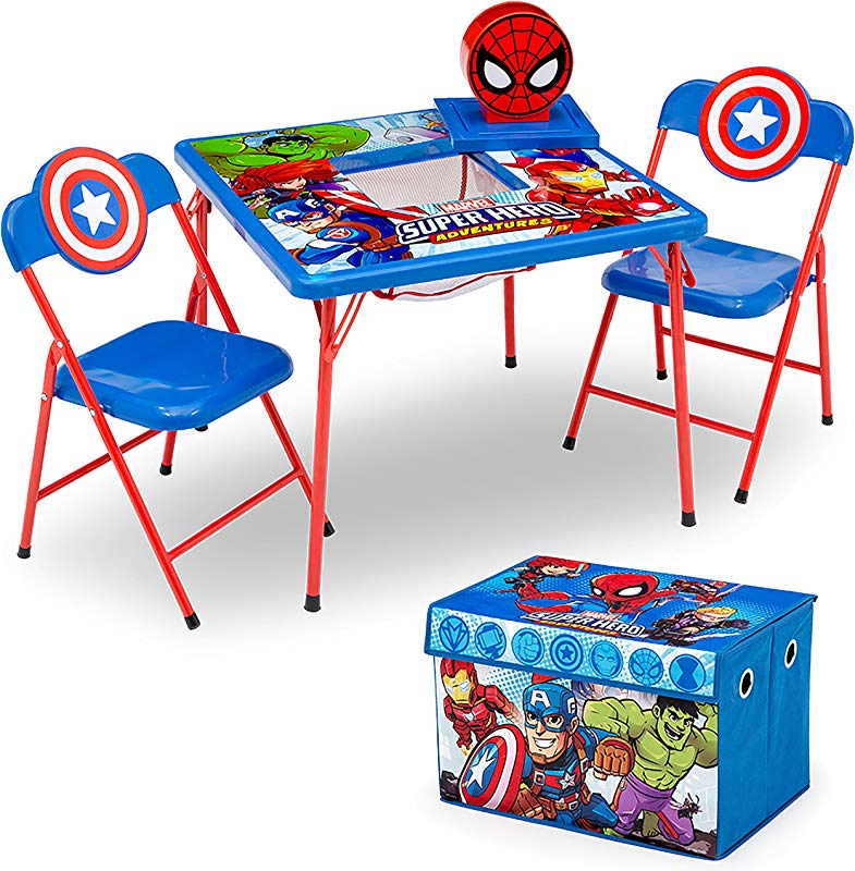 Delta Children 4 Piece Kids Furniture Set 2 Chairs And Table Set Fabric Toy Box Marvel Avengers