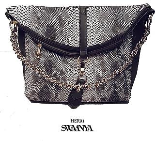 Vegan leather handbag (Exotic texture mixed tone -Grey&White)