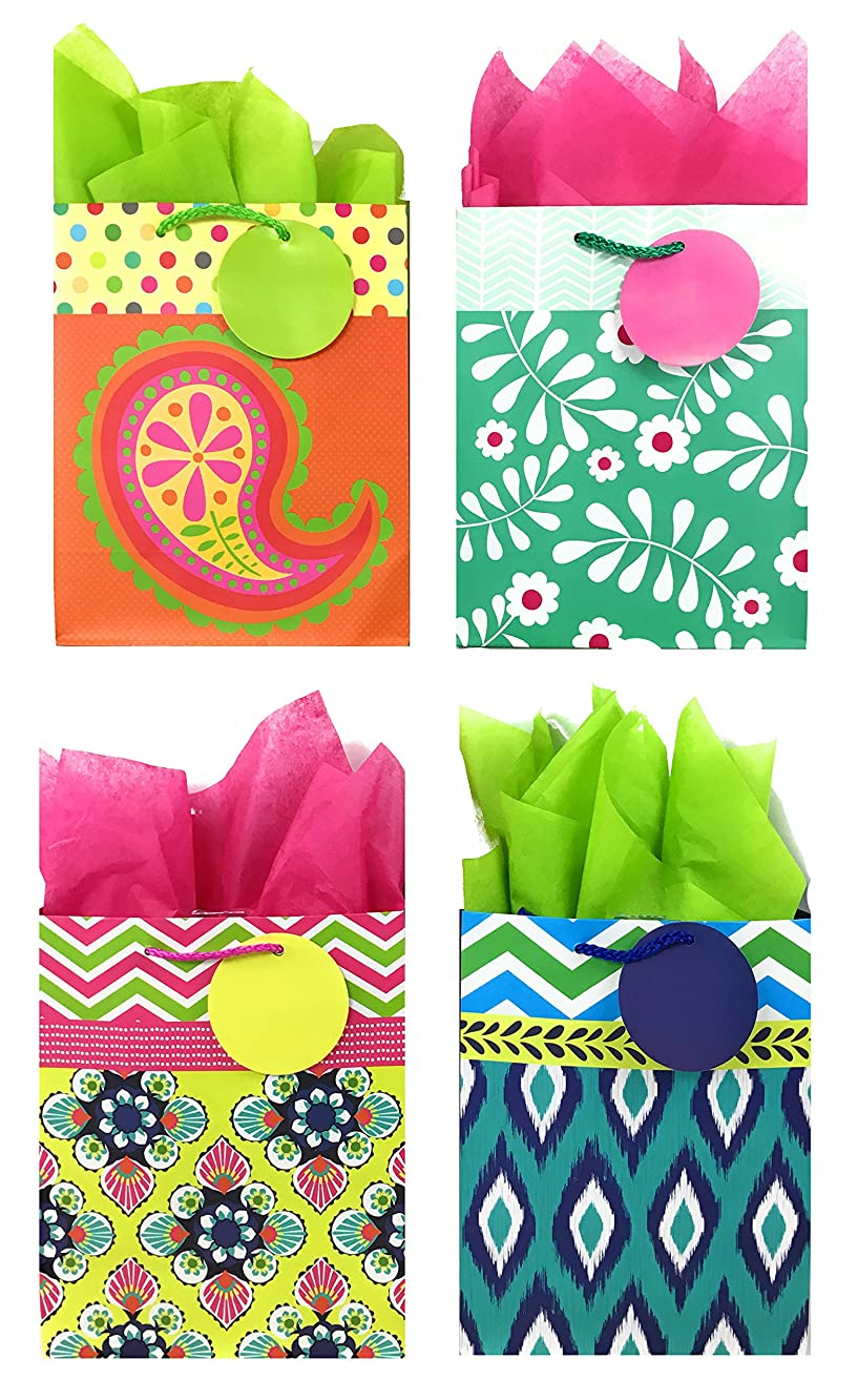 Colorful Gift Bags + Tissue Paper (4 Medium Gift Bags + Tissue Paper, All Occasion)