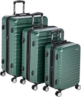 "AmazonBasics Premium Hardside Spinner Luggage with Built-In TSA Lock - 3-Piece Set (21"", 26"", 30""), Green"