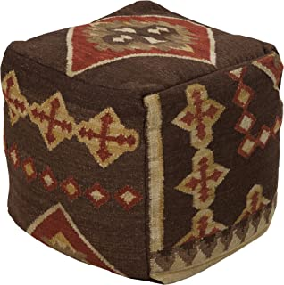 "Surya Hand Made 100% Hard Twist Wool Chocolate 18"" x 18"" x 18"" Pouf"