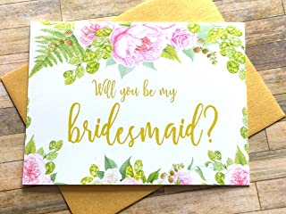 Will You Be My Bridesmaid Card Watercolor Green Gold Pink