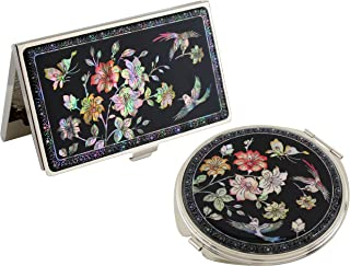 Mother of Pearl Cherry Blossom Design Magnifying Double Compact Makeup Mirror Business Credit Name Card Holder Set Stainle...