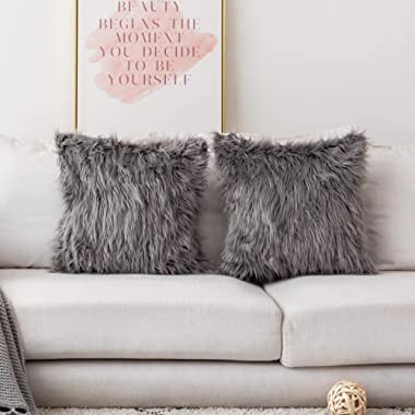 Home Brilliant Merino Style Mongolian Decorative Faux Fur Throw Pillow Covers Accent Cushion Pillow Cases for Couch, 18x18inches, 45cm, Set of 2, Dark Grey