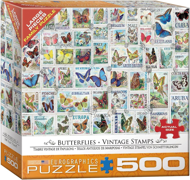 EuroGraphics Butterflies Vintage Stamps 500Piece Puzzle