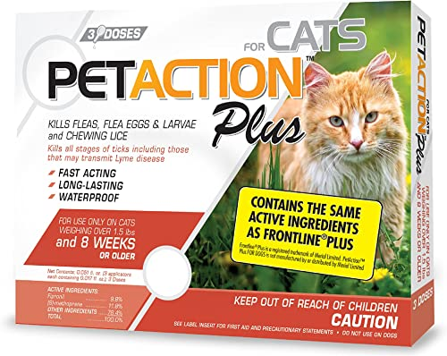 wholesale PetAction Plus Flea & lowest Tick Treatment outlet online sale for Cats Over 1.5 lbs, 3 Month Supply (Packaging May Vary) outlet sale