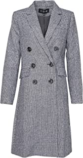 Womens Black and White Houndstooth Plaid Coat Winter Jacket