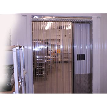 Hardware Included 8 in 168 in. 6 ft Height Width X 72 in. Strips with 50/% Overlap 14 ft Common Common Door Kit Clear Ribbed Strip-Curtains.com: Strip Door Curtain