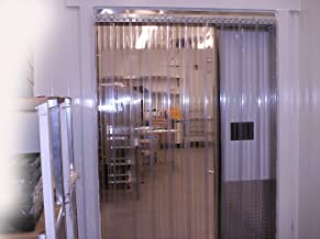 Strip-Curtains.com: Strip Door Curtain - 60 in. (5 ft) width X 84 in. (7 ft) height - RIBBED Low Temp - Anti Scratch 8 in. strips with 50% overlap - common door kit (Hardware included)