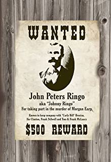 Old Tin Sign Tombstone Wanted For Murder Johnny Ringo