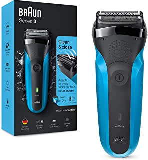 Braun Series 3 310 Electric Shaver Wet & Dry Electric Razor for Men with 3 Flexible Blades Rechargeable and Cordless Electric Foil Washable Shaver Black/Blue, 2 pin plug