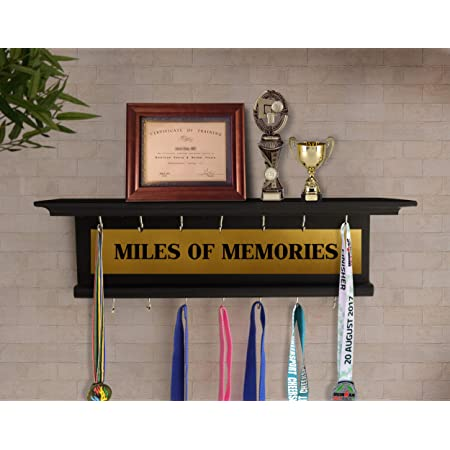 TIED RIBBONS Wall Hanging Medal and Trophy Display Holder Wall Shelf Rack for Sports Cricket Cyclists Academics (Large Size, Handcrafted, Wood)