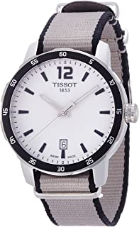 Tissot Men's Quickster Stainless Steel Quartz Watch with Nylon Strap, Silver, 19 (Model: T0954101703700)