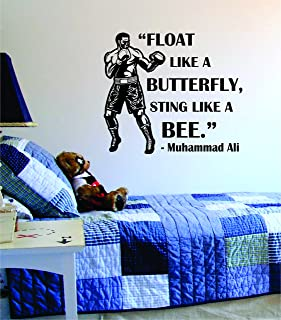 Boxing Quote Float Like a Butterfly Sting Like a Bee Decal Sticker Wall Vinyl Cool Boxing Gloves Fight Sport Nice