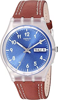 Swatch Time (Core) Quartz Leather Strap, Brown, 17 Casual Watch (Model: GE709)