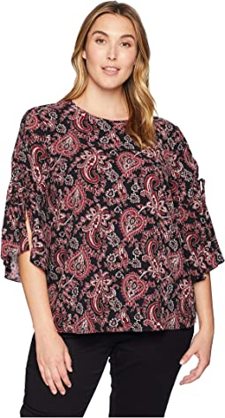 Plus Size Sweatheart Paisley Short Sleeve Top