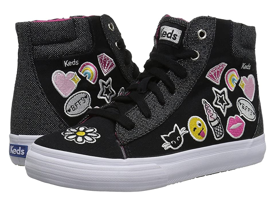 Keds Kids Double Up High Top (Little Kid/Big Kid) (Black Emoji) Girl