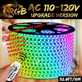 RGB LED Strip Light, IEKOV™ AC 110-120V Flexible/Waterproof/Multi Colors/Multi-Modes function/Dimmable SMD5050 LED Rope Light with Remote for Home/Office/Building Decoration (32.8ft/10m)
