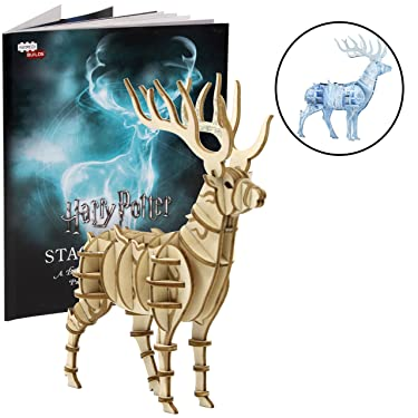 Harry Potter Patronus 3D Wood Puzzle &Model Figure Kit (34 Pcs) - Build & Paint Your Own 3-D Book Movie Toy - Holiday Educational Gift for Kids & Adults, No Glue Required, 8+